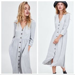 Grey midi dress with button up front